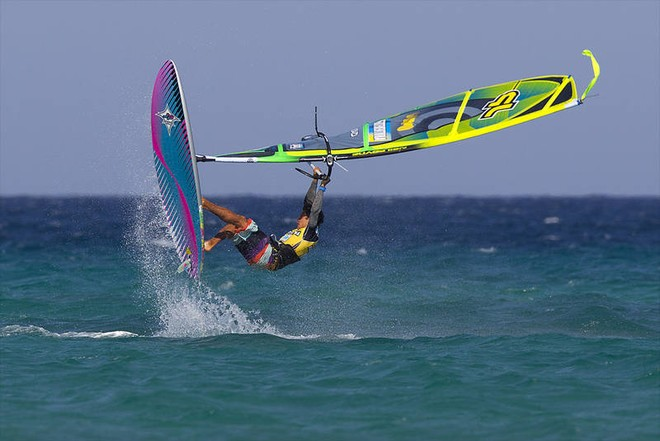 Tilo busts out the moves - PWA Sotavento Fuerteventura World Cup 2012 ©  John Carter / PWA http://www.pwaworldtour.com