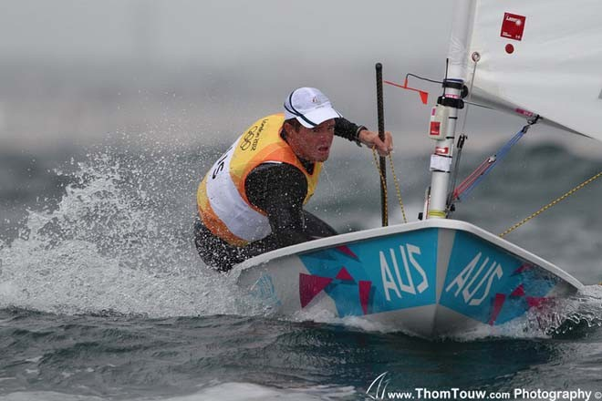 Tom Slingsby (AUS) competing in The London 2012 Olympic Sailing Competition.<br />  &copy; Thom Touw http://www.thomtouw.com