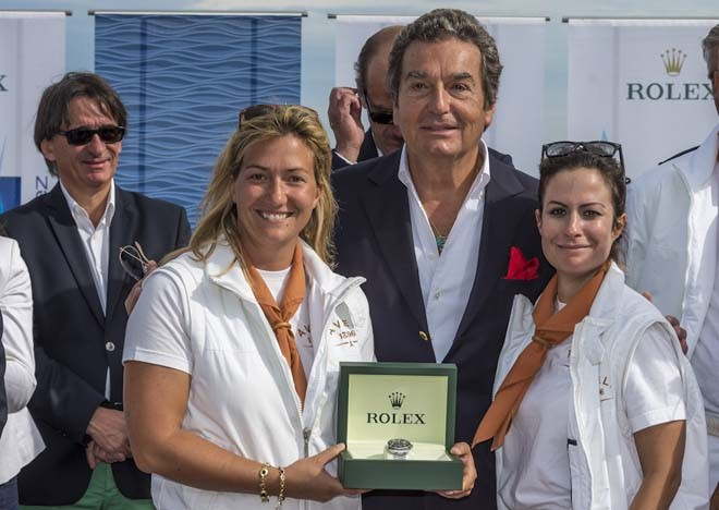 Prizegiving Ceremony at La Citadelle.<br /> Philippe Schaeffer, Director of Rolex France, awards a Rolex Timepiece to Allegra and Alessandra Gucci, owner of AVEL &copy;  Rolex / Carlo Borlenghi http://www.carloborlenghi.net