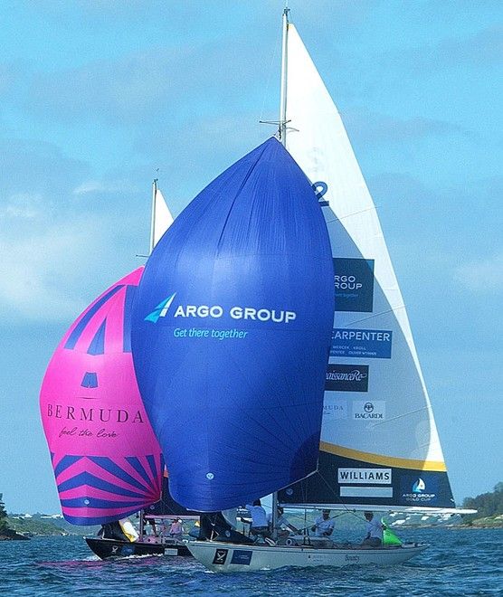 Ian Williams beat Eric Monnin in the Petit Finals to take 3rd place in the Argo Group Gold Cup, stage 8 on the World Match Racing Tour, at the Royal Bermuda Yacht Club in Hamilton, Bermuda. ©  Talbot Wilson / Argo Group Gold Cup http://www.argogroupgoldcup.com/
