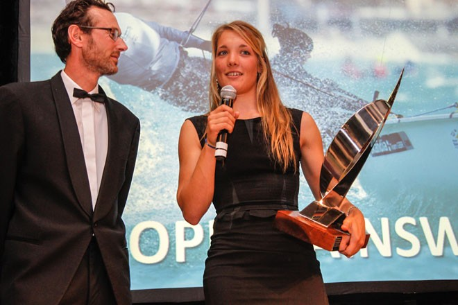 Sophie Ainsworth collects the Development Squad Sailor of the Year prize. ©  Paul Wyeth / RYA http://www.rya.org.uk