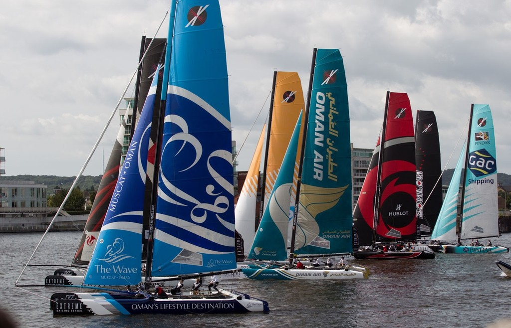 The start line at the Extreme Sailing Series Cardiff © Lloyd Images http://lloydimagesgallery.photoshelter.com/