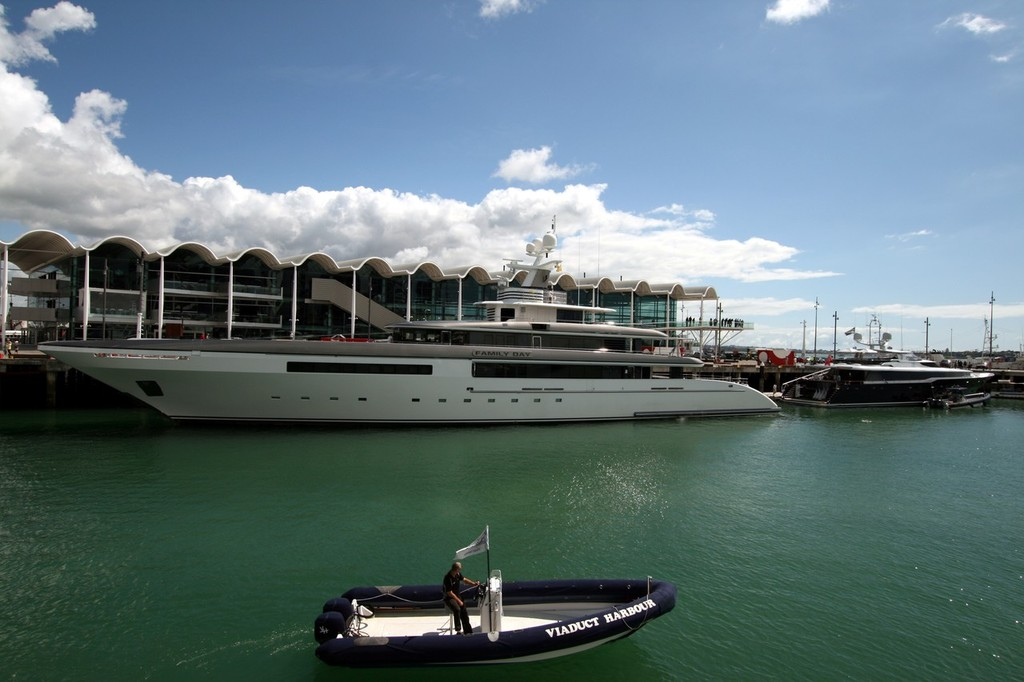 Superyacht tied up alongside the Events Centre at the Auckland Viaduct Marina © Clive Bennett