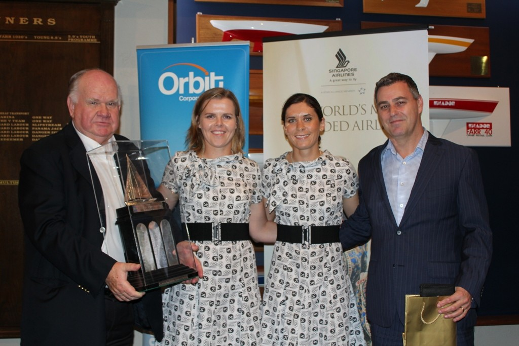 Sir Colin Giltrap presents Jo Aleh and Polly Powrie the Sir Bernard Fergusson Trophy for 2012 Orbit Corporate Travel Sailor of the Year together with Brendan Drury of Orbit Corporate Travel - 2012 Yachting Excellence Awards © Jodie Bakewell-White