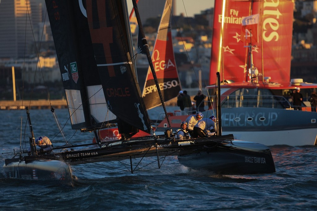 Racing at the close of the day on Day 4 of the America's Cup World Series © ACEA - Photo Gilles Martin-Raget http://photo.americascup.com/