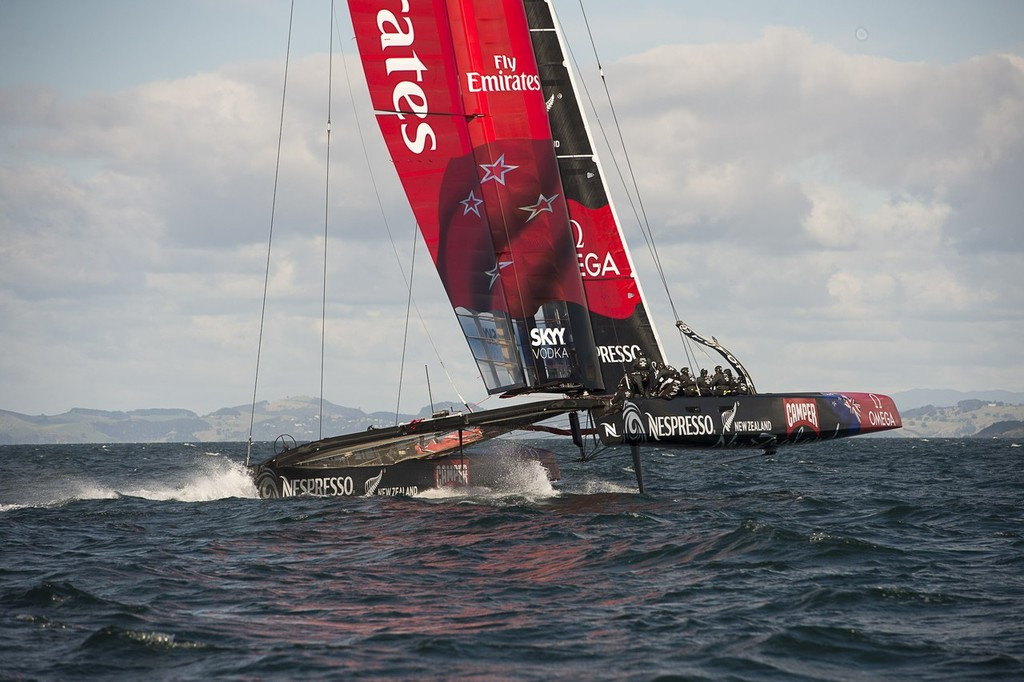 Emirates Team  New Zealand sailing their recently launched AC72 on the Hauraki Gulf.  © Chris Cameron/ETNZ http://www.chriscameron.co.nz