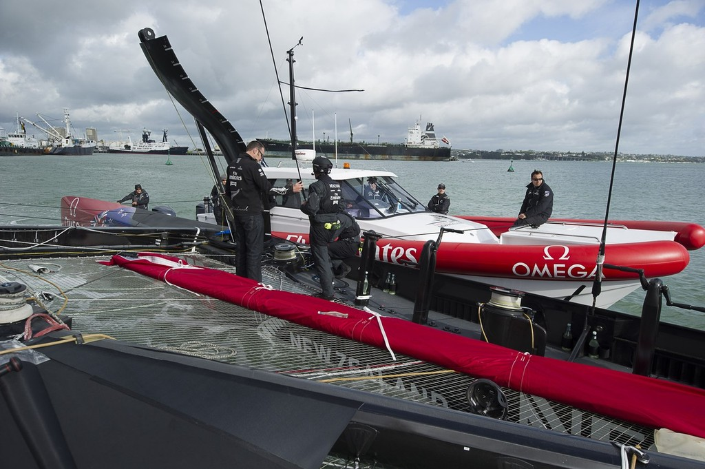 Chase 1 manouvers the AC72 out of the Viaduct. Emirates Team New Zealand. Day 13 of testing for the team's first AC72. Hauraki Gulf, Auckland.  © Chris Cameron/ETNZ http://www.chriscameron.co.nz