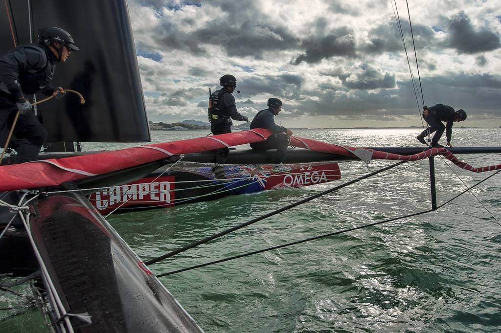 Preparing to hoist the Genoa. Emirates Team New Zealand. Day 13 of testing for the team's first AC72. Hauraki Gulf, Auckland.  © Chris Cameron/ETNZ http://www.chriscameron.co.nz