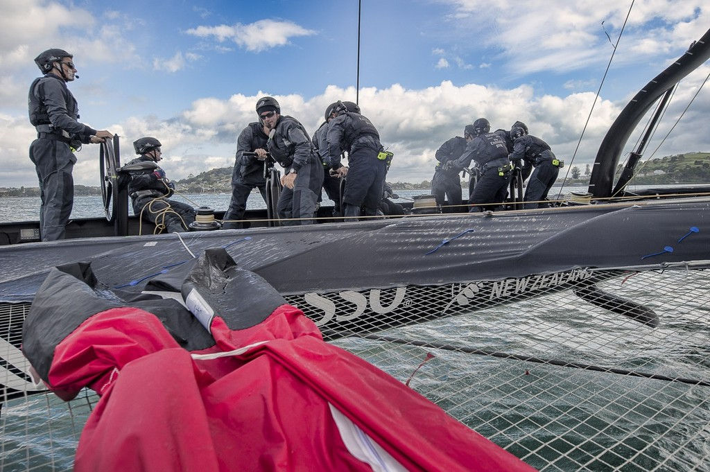 Emirates Team New Zealand. Day 13 of testing for the team's first AC72. Hauraki Gulf, Auckland.  © Chris Cameron/ETNZ http://www.chriscameron.co.nz
