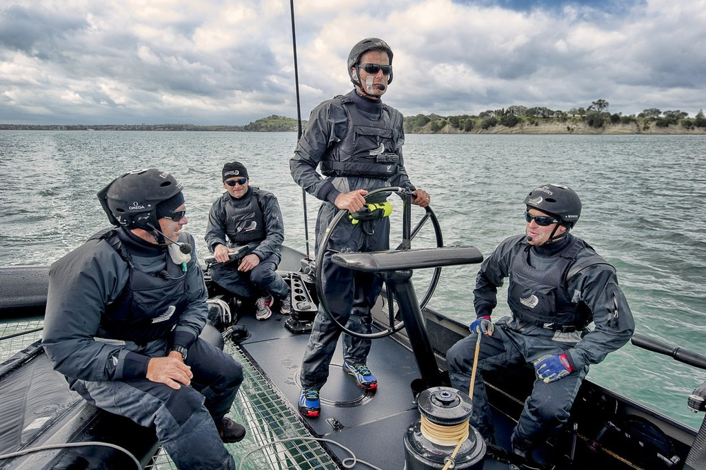 Ray Davies, Luc Dubois, Dean Barker and Glenn Ashby. Emirates Team New Zealand. Day 13 of testing for the team's first AC72. Hauraki Gulf, Auckland.  © Chris Cameron/ETNZ http://www.chriscameron.co.nz