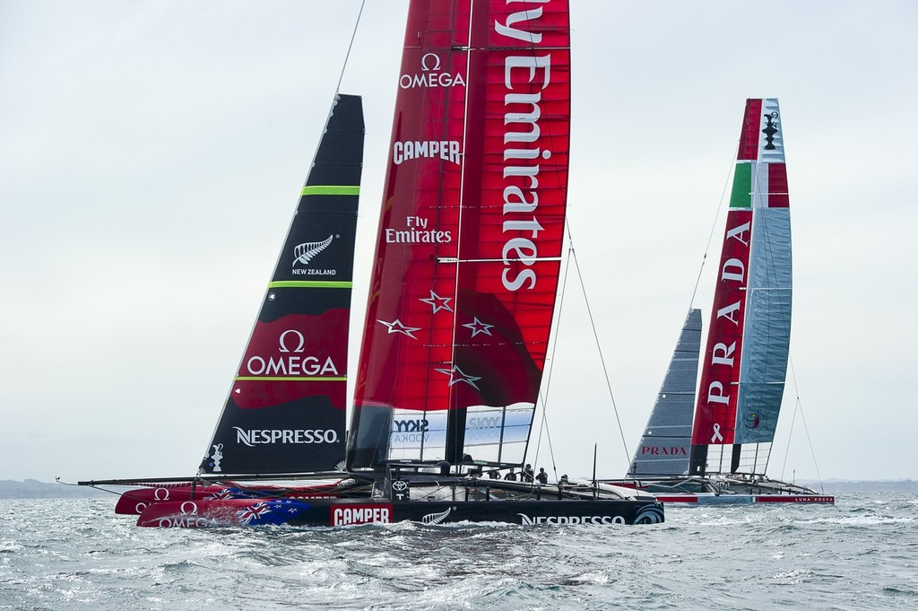 Emirates Team New Zealand and Luna Rossa practice racing in the Hauraki Gulf.  © Chris Cameron/ETNZ http://www.chriscameron.co.nz