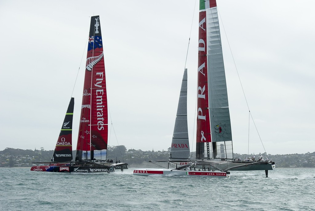 Emirates Team NZ and Luna Rossa, racing in the Hauraki Gulf © Chris Cameron/ETNZ http://www.chriscameron.co.nz