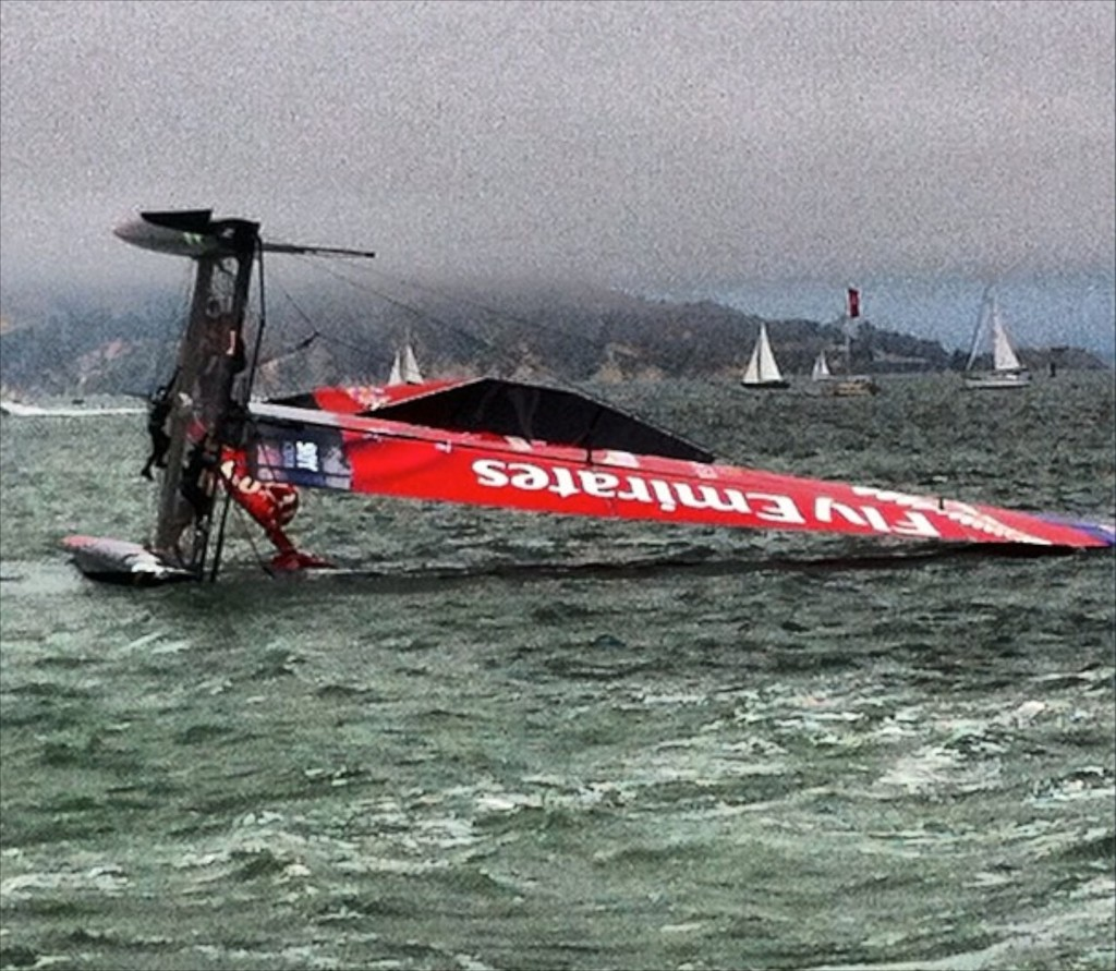 Emirates Team NZ capsized in San Francisco © SW