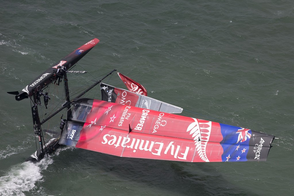 Emirates Team NZ is righted after her capsize in San Francisco - Official Practice - America's Cup World Series © ACEA - Photo Gilles Martin-Raget http://photo.americascup.com/
