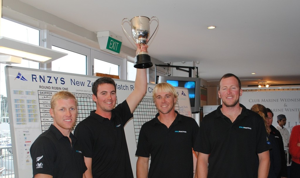 Will Tiller and the FMJ crew with the New Zealand National Match Racing Championships Trophy © RNZYS Media