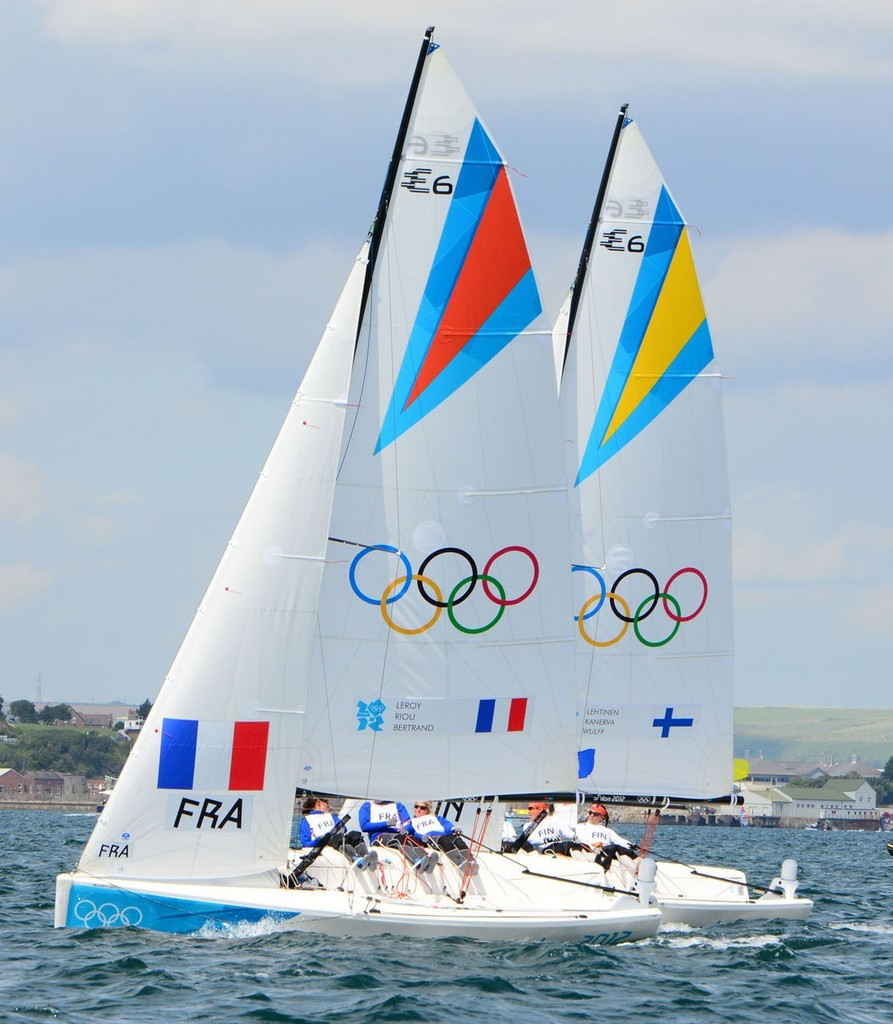 FRA  and FIN WMR- London 2012 Olympic Sailing Competition Practice Day © Sail-World.com http://www.sail-world.com