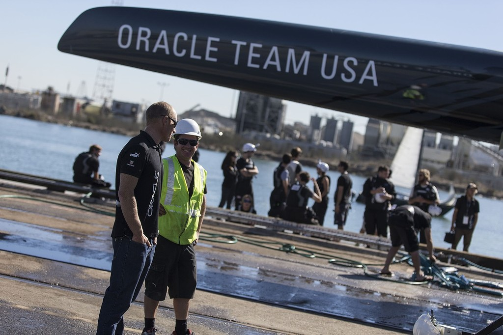 Oracle Team USA after the capsize © Guilain Grenier Oracle Team USA http://www.oracleteamusamedia.com/