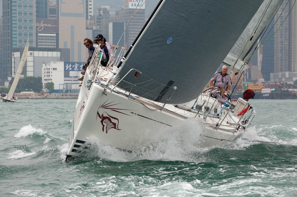RHKYC Hainan Race 2012 - Xena makes the pace up the harbour ©  RHKYC/Guy Nowell http://www.guynowell.com/