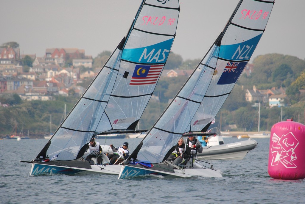New Zealand to windward of Malaysia on Day 4 of the 2012 Paralympics at Portland © David Staley - IFDS