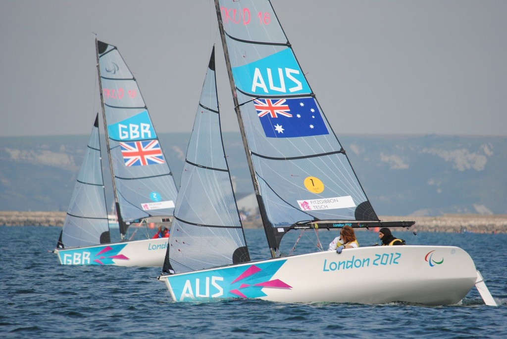 Australia and Britain competing in the SKUD18 class on Day 4 of the 2012 Paralympics at Portland © David Staley - IFDS