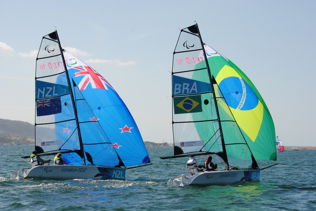 NZL and Brazil - SKUD 18 - Day 5 2012 Paralympic Regatta, Portland  Harbour © David Staley - IFDS