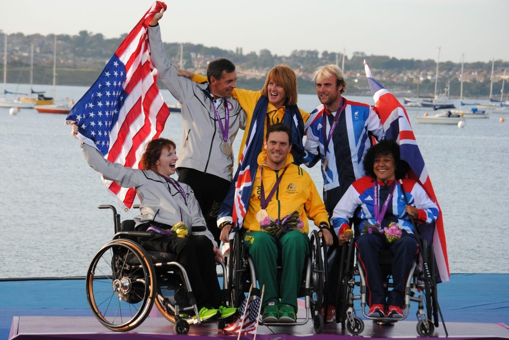 Medal winners in the SKUD 18 fleet - 2012 Paralympics © David Staley - IFDS