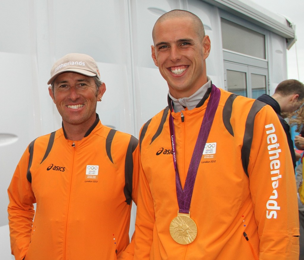 2000 Olympic bronze medalist Aaron McIntosh (NZL, left) coached Dorian van Rijsselberge (NED) to win the 2012 Olympic Gold Medal in the RS:X in Weymouth - photo © Richard Gladwell www.photosport.co.nz