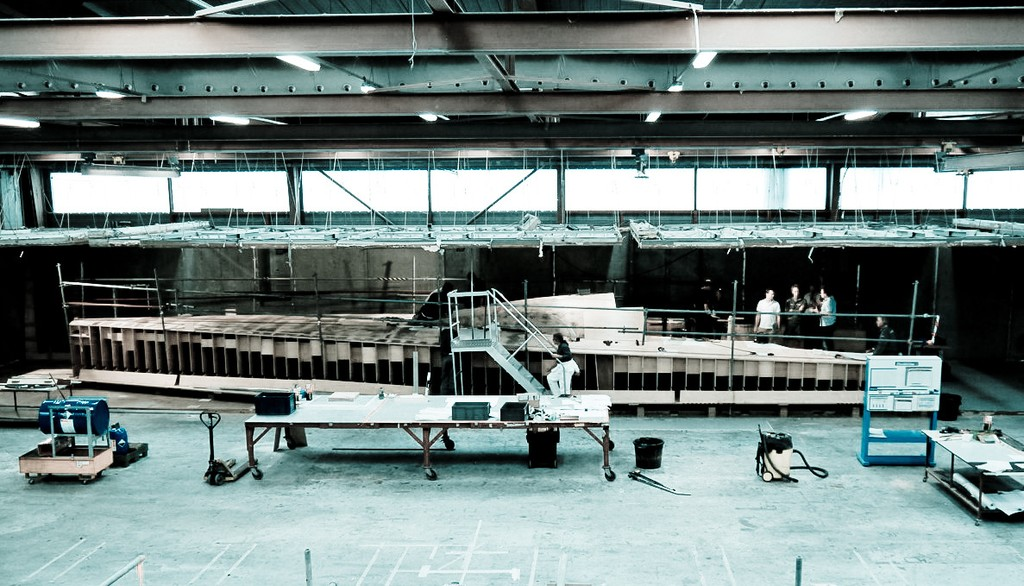 A mock up deck constructed from plywood being used by experts to position deck hardware on the new Volvo 65-feet one design at Multiplast, France. © Volvo Ocean Race http://www.volvooceanrace.com