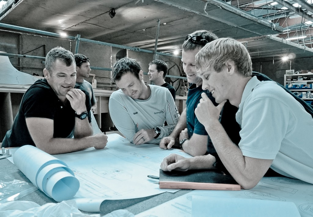 Volvo Ocean Race experts Richard Mason, Phil Harmer, Chris Nicholson and Emerson Smith (Farr Yachts) working closely on the new design at Multiplast, France. © Volvo Ocean Race http://www.volvooceanrace.com