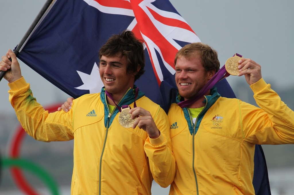 August 8, 2012 - Weymouth, England - Nathan Outteridge and Iain Jensen (AUS) Gold Medal winners © Richard Gladwell www.photosport.co.nz