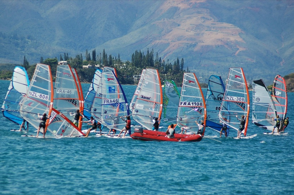 <b>Image of the Day </b> Kiwi and New Caledonian sailors doing practice racing. &copy; Brian Haybittle
