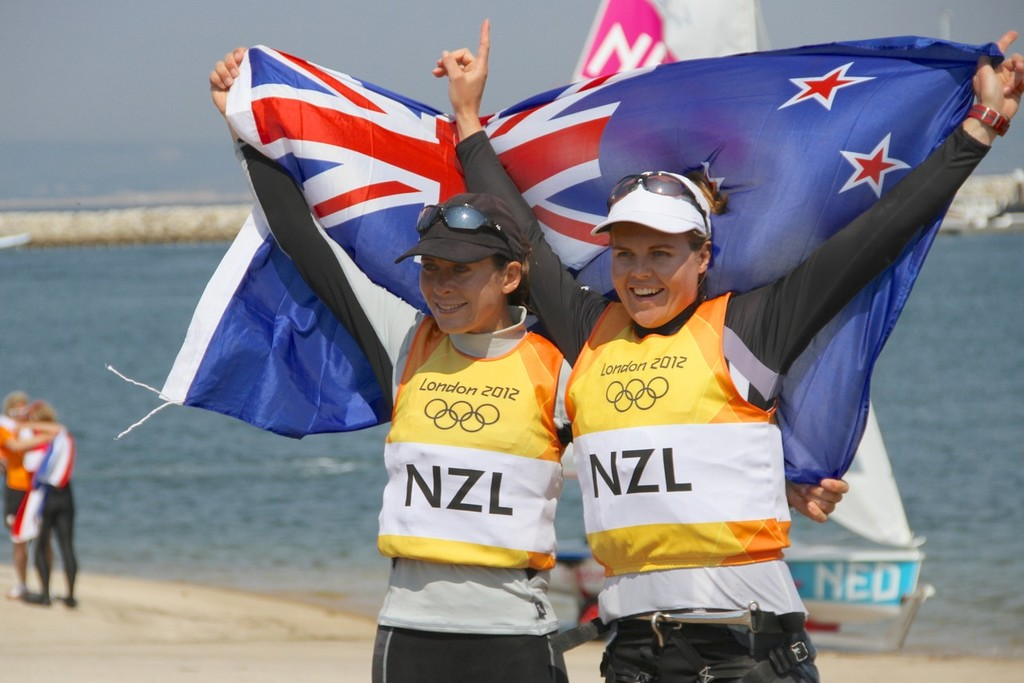 August 10, 2012 - Weymouth, England - Jo Aleh and Olivia Powrie celebrate after their Gold Medal win in the Womens 470 class © Richard Gladwell www.photosport.co.nz
