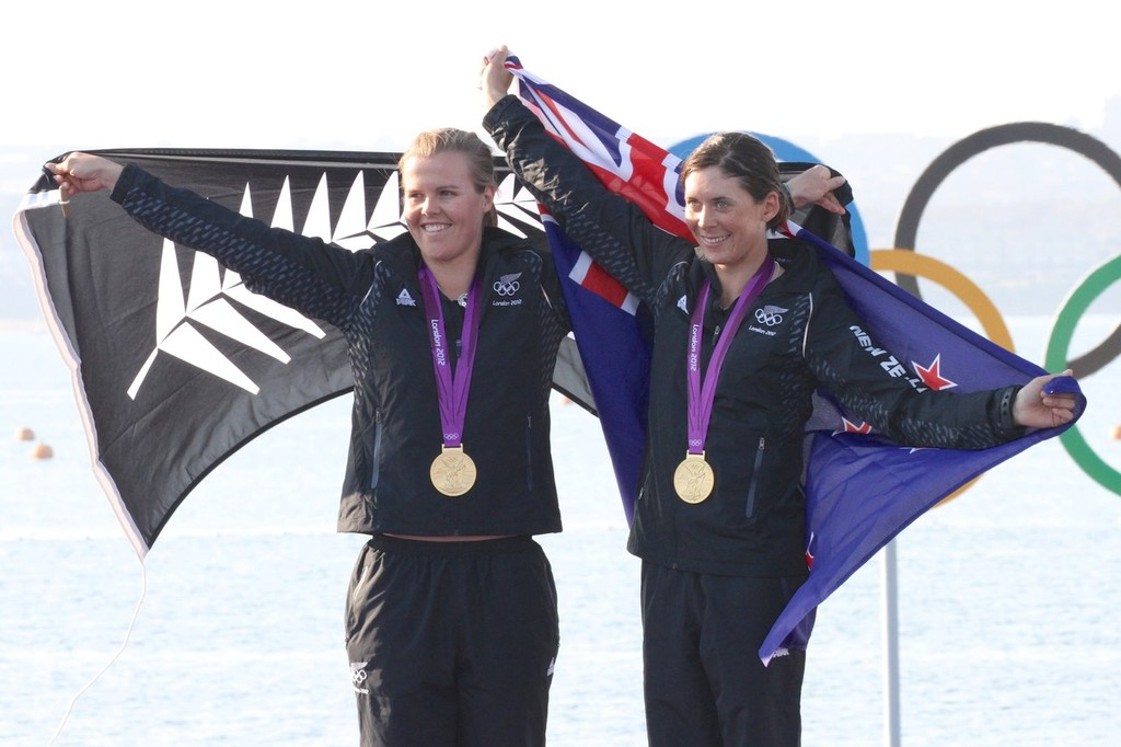 August 10, 2012 - Weymouth, England - Olivia Powrie and Jo Aleh after being presented with the Gold Medal in the Womens 470 © Richard Gladwell www.photosport.co.nz
