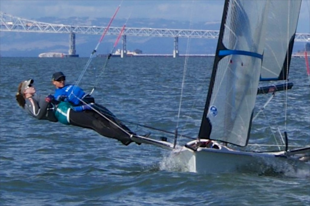 USA - sailing upwind on San Francisco Bay - 49er FX © Mackay Boats http://www.mackayboats.com