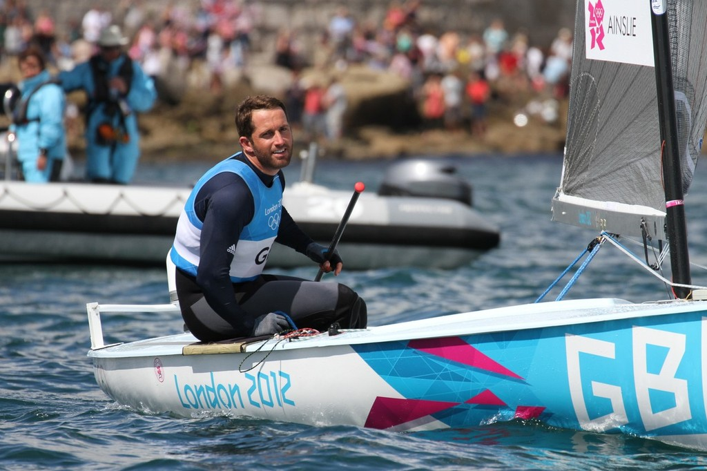 August 5, 2012 - Weymouth, England - Ben Ainslie sails away after saluting the crowd - photo © Richard Gladwell www.photosport.co.nz