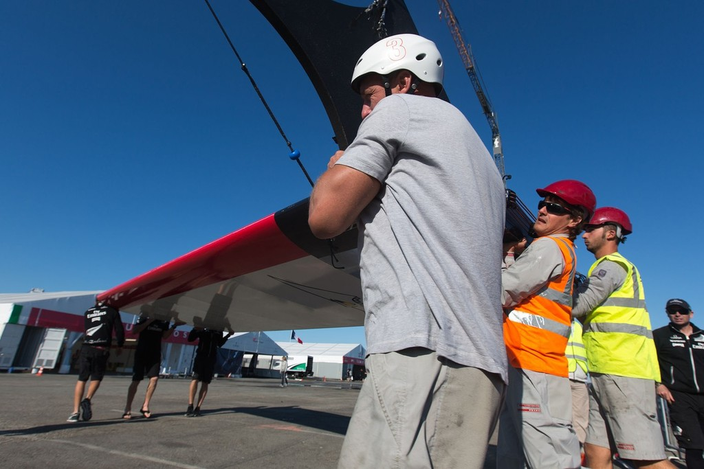 Luna Rossa Swordfish wing damaged after capsize © ACEA - Photo Gilles Martin-Raget http://photo.americascup.com/