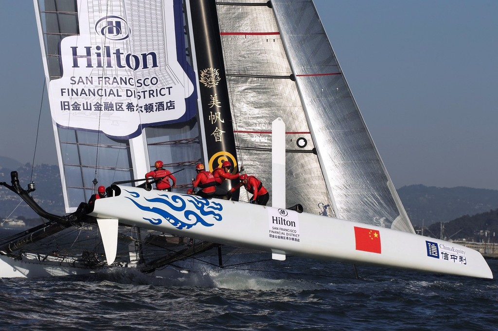 Team China dips their leeward hull on the SF cityfront - ACWS San Francisco © Chuck Lantz http://www.ChuckLantz.com