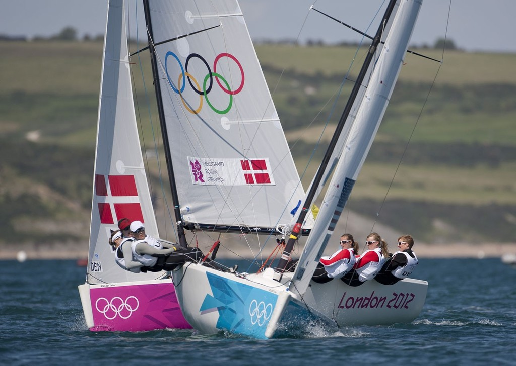 Anna Tunnicliffe, Debbie Capozzi and Molly O'Bryan Vandemoer (USA) in the Women's Match Racing (Elliott 6M) event in The London 2012 Olympic Sailing Competition. - photo © onEdition <a target=
