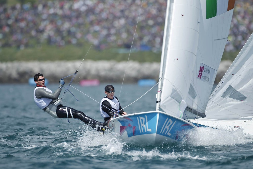 Gerald Owens and Scott Flanigan (IRL) competing in the Men's Two Person Dinghy (470) event in The London 2012 Olympic Sailing Competition. © onEdition http://www.onEdition.com