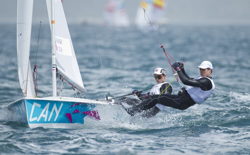 Luke Ramsay and Mike Leigh (CAN) competing in the Men's Two Person Dinghy (470) event in The London 2012 Olympic Sailing Competition. © onEdition http://www.onEdition.com