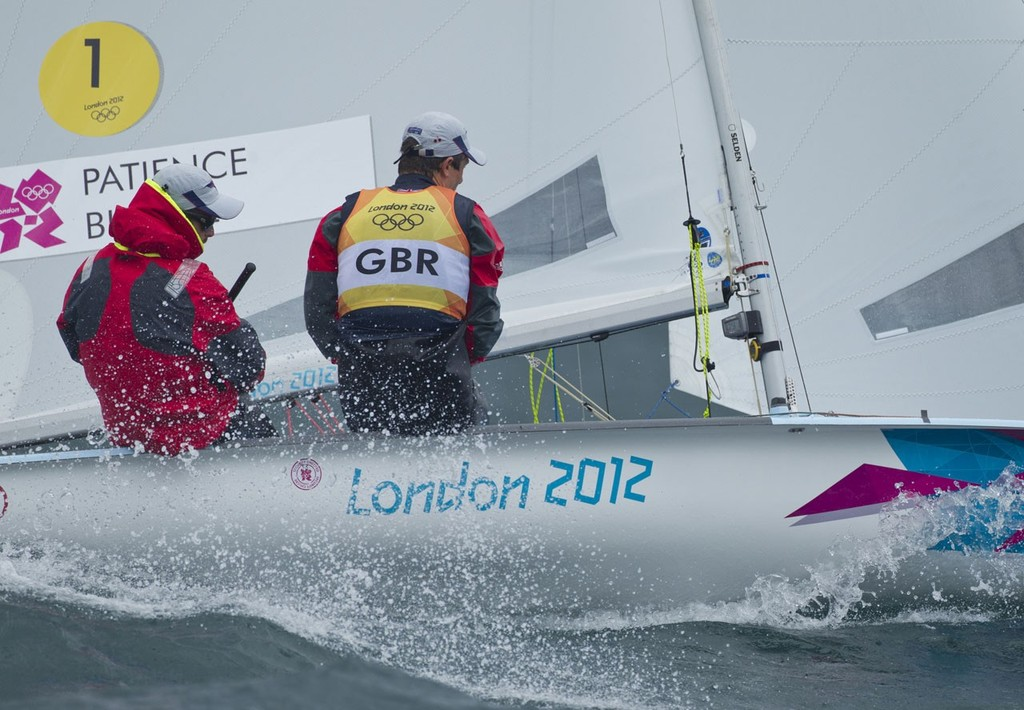 Luke Patience and Stuart Bithell (GBR) competing in the Men's Two Person Dinghy (470) event in The London 2012 Olympic Sailing Competition. © onEdition http://www.onEdition.com