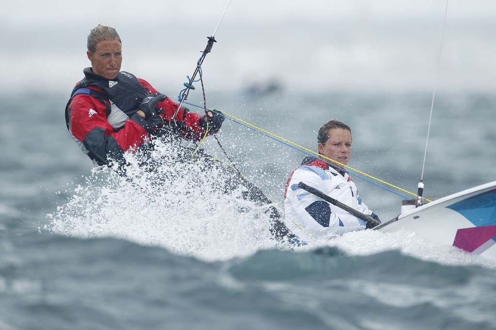 Hannah Mills and Saskia Clark (GBR) competing in the Women's Two Person Dinghy (470) event in The London 2012 Olympic Sailing Competition. © onEdition http://www.onEdition.com