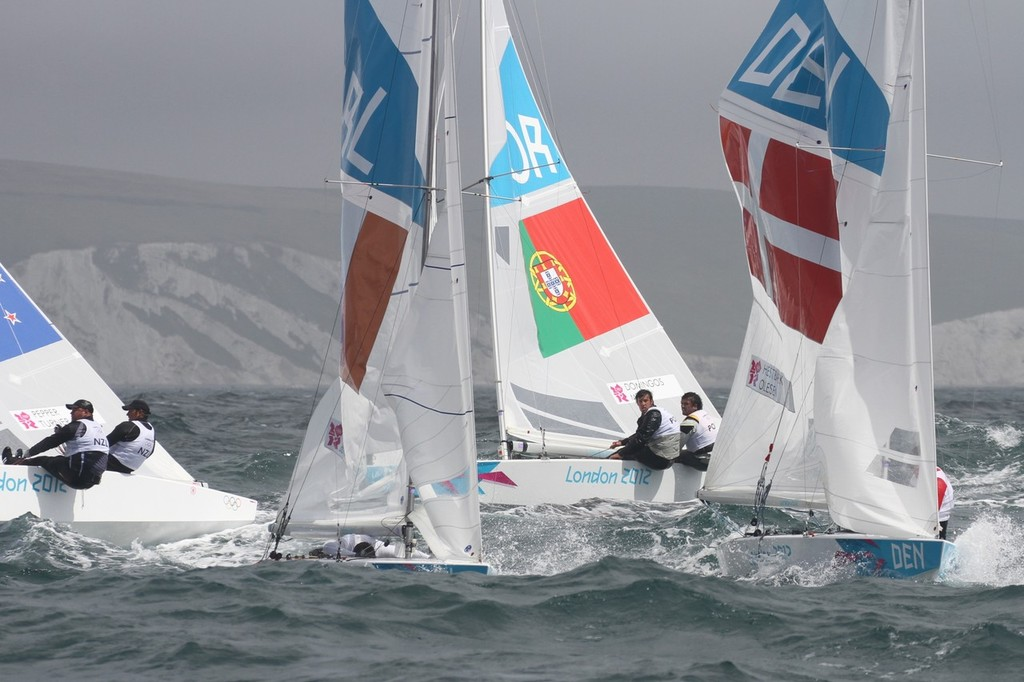 August 1, 2012 - Weymouth, England - Stars tacking for the windward mark © Richard Gladwell www.photosport.co.nz