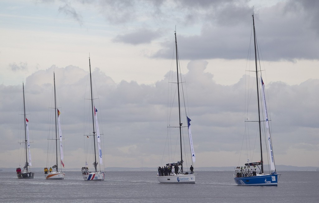 The fleet, entering Greifswald, having completed their 750 mile journey, at the end of the Nord Stream Race 2012. © onEdition http://www.onEdition.com