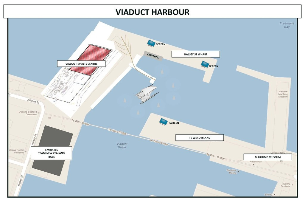 Viaduct Harbour Event Diagram - AC 72 Launch July 21, 2012 © Emirates Team New Zealand http://www.etnzblog.com