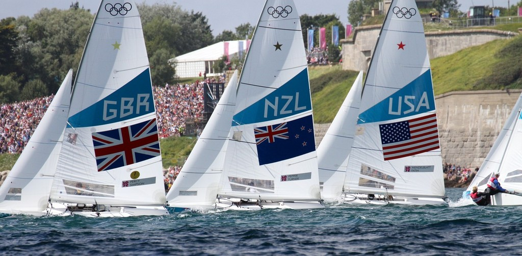 Stars sail past the Nothe - Weymouth 2012 Olympic Regatta © Richard Gladwell www.photosport.co.nz
