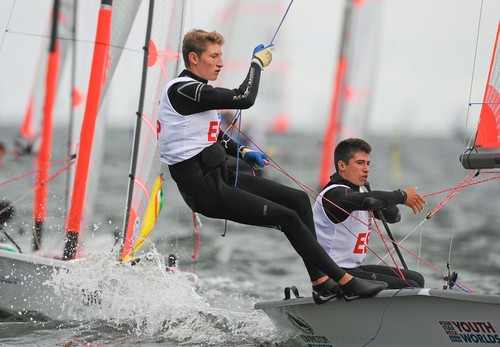 Florian Trittel, crew, and Carlos Robles, helm, Spain, in action during the Open Skiff - 29er Class at the Four Star Pizza ISAF Youth Sailing World Championship. Dun Laoghaire, Dublin.  © ISAF Youth Worlds http://www.isafyouthworlds.com