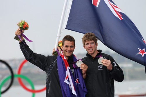 August 7, 2012 - Weymouth, England - Blair Tuke and Peter Burling on the 2012 Olympic medal podium at Portland © Richard Gladwell www.photosport.co.nz