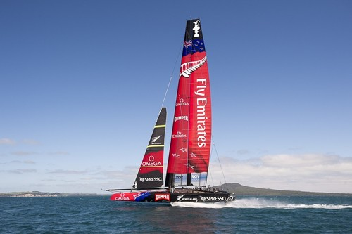 Emirates Team New Zealand testing the  AC72 on the Hauraki Gulf.  © Chris Cameron/ETNZ http://www.chriscameron.co.nz