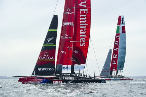 Emirates Team New Zealand and Luna Rossa practice racing in the Hauraki Gulf, and are tracked regularly by spy boats.  © Chris Cameron/ETNZ http://www.chriscameron.co.nz